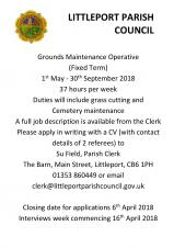 Vacancy - Grounds Maintenance Operative