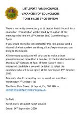 Vacancy for Co-option